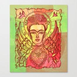 Frida Kahlo - monoprint-Red Canvas Print