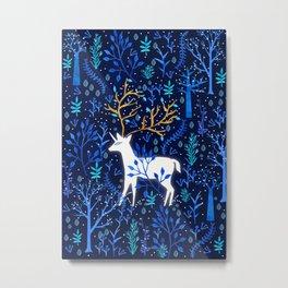 Deericorn In Blue Metal Print