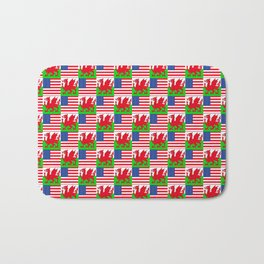 Mix of flag: USA and Wales Bath Mat