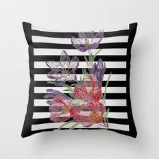 Floral design with black and white background Throw Pillow