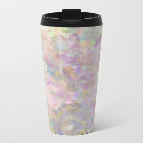 Sweet Spring Pastel Floral Abstract Metal Travel Mug