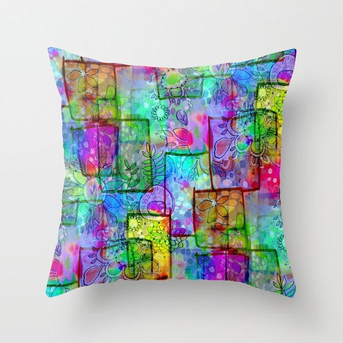 Rainbow Floral Doodle Throw Pillow