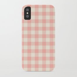 PASTEL GINGHAM 02, blush pink squares iPhone Case
