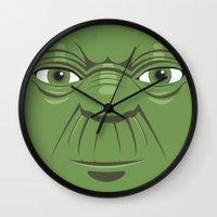 starwars Wall Clocks featuring Yoda - Starwars by Alex Patterson AKA frigopie76