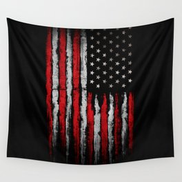 Red & white Grunge American flag Wall Tapestry