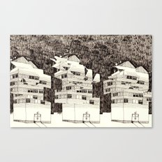 Deconstructed Buildings at Night Canvas Print