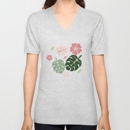 Tropical leaves White paradise #homedecor #apparel #tropical Unisex V-Neck