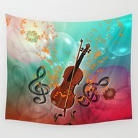 violin Wall Tapestries featuring Violin with violin bow by nicky2342