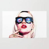 iggy azalea Area & Throw Rugs featuring Iggy Azalea Portrait by Tiffany Taimoorazy