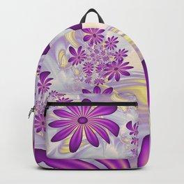 Fractal Art Dancing Purple Flowers Backpack