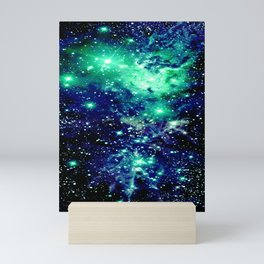 Fox Fur Nebula Galaxy Teal Midnight Blue Mini Art Print