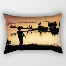 Little Boy Fishing Rectangular Pillow