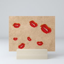 Kisses In Red Lipstick (Lips) Mini Art Print
