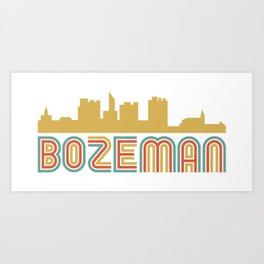 Vintage Style Bozeman Montana Skyline Art Print