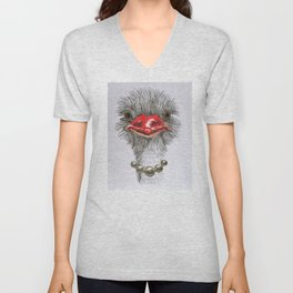 ostrich with single pearls Unisex V-Neck