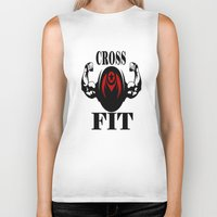 crossfit Biker Tanks featuring CROSSFIT 1 by Robleedesigns