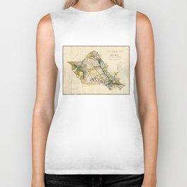 Vintage Map of Oahu Hawaii (1906) Biker Tank