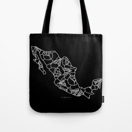 Mexico Map White Outline Tote Bag