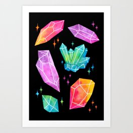 Watercolor Crystals // Black Art Print