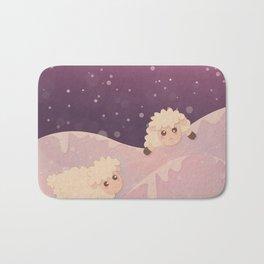 Cartoon Baby Sheep, Red Violet Snowy Bokeh Background Bath Mat