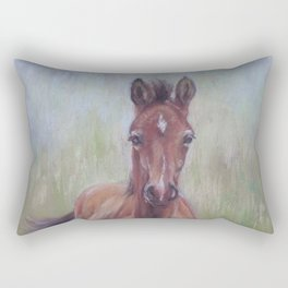 Baby Horse, Foal in the spring meadow, Cute Horse portrait Pastel drawing Rectangular Pillow