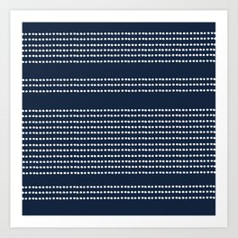 Spotted, African Pattern in Blue and White Art Print