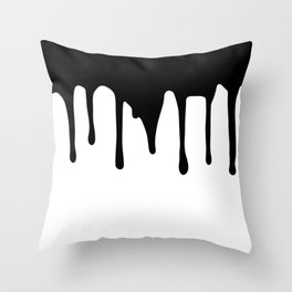 Black paint drips on white background Throw Pillow