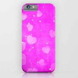 Neon Hot Pink Hearts Pattern iPhone Case