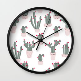 Love in the Desert Cacti Pattern Wall Clock