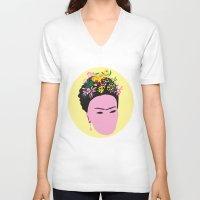 frida V-neck T-shirts featuring Frida by Emmanuelle Ly