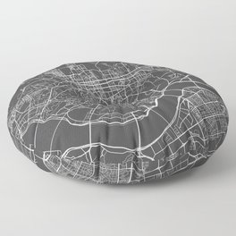 Seoul Map, South Korea - Gray Floor Pillow