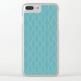 Whimsical Dots Pattern Aqua Clear iPhone Case