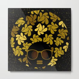 Afro Diva : Gold Metal Print