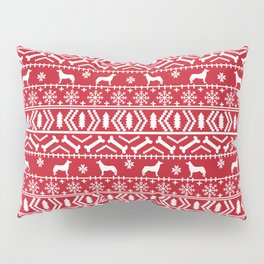 Husky fair isle red and white minimal christmas dog pattern gifts huskies Pillow Sham