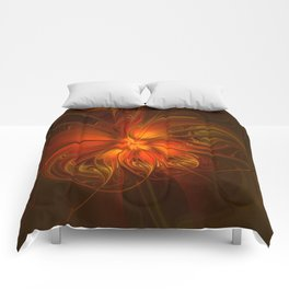 Burning, Abstract Fractal Art With Warmth Comforters
