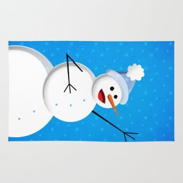 Blue Happy Singing Snowman Rug