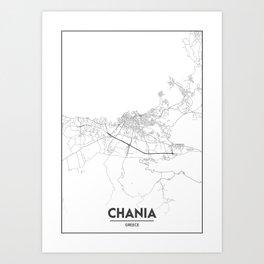 Minimal City Maps - Map Of Chania, Greece. Art Print