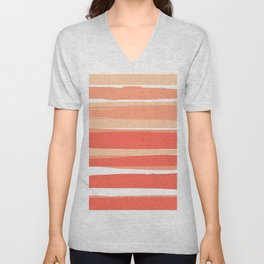 Striped Abstract, Living Coral Californian Sunset Unisex V-Neck