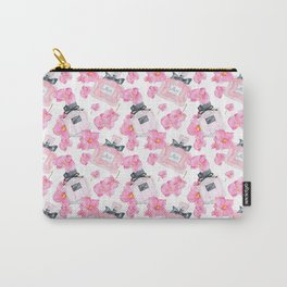 Pink Flowers Fashion Parfume Carry-All Pouch