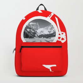 Bicycle tire mountains lake landscape travel gift Backpack