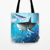 shark Tote Bags featuring Shark by nicky2342