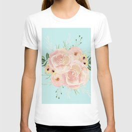 Wild Roses on Succulent Blue Green T-shirt