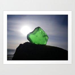 EMERALD GREEN SEA GLASS SUNSET Art Print