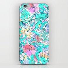 Pretty Pastel Hawaiian Hibiscus Print iPhone Skin