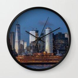 New York City at Night Wall Clock