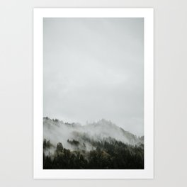 Pines at the mountain in the fog | Colourful Travel Photography | Ossiacher See, Villach, Austria (Europe) Art Print