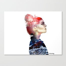 Double Exposure Girl Drawing (PART I) Canvas Print