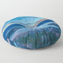 Lakeside Sunset // Mile High Rocky Mountain Orange and Blue Sky Floor Pillow