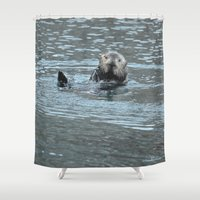 otters Shower Curtains featuring Sea Otter Fellow by Alaskan Momma Bear