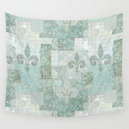 teal baroque vintage patchtwork Wall Tapestry